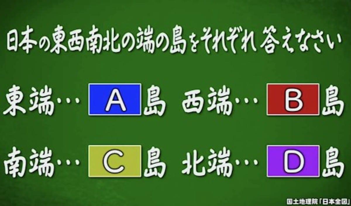 日本の東西南北の端の島は?:クイズ!あなたは小学5年生より賢いの?【2019/12/13】
