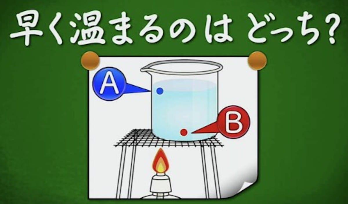ビーカーの水で温まるのが早いのはどこ?:クイズ!あなたは小学5年生より賢いの?【2019/12/13】